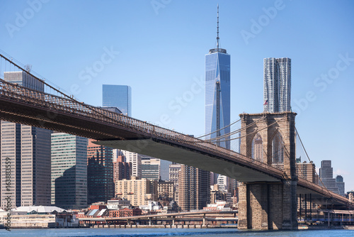 Brooklyn Bridge with One World Trade Center background, New York City, USA Poster
