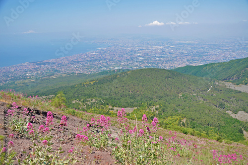 View of Naples and mountains from the heights of Vesuvius