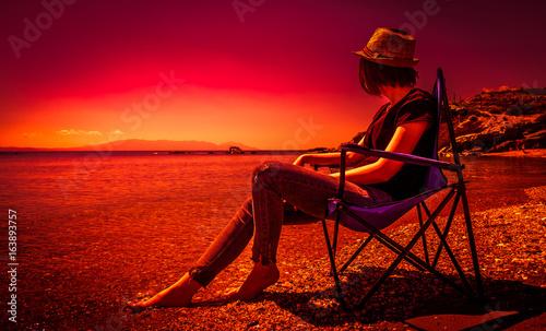 Foto op Canvas Baksteen Beautiful woman with sunset