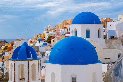 Dome of the Orthodox Church in Oia, Santorini Island, Greece