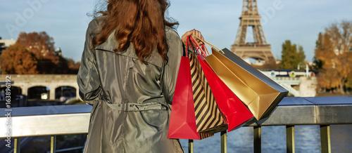 Fridge magnet elegant woman with shopping bags looking on Eiffel tower, Paris