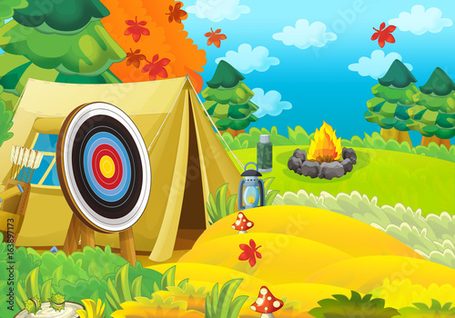 Cartoon scene of camping in the forest - stage for different usage - illustration for children - 163897173