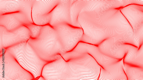red abstract waves on white background - shape made of lines