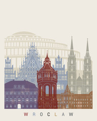 Wroclaw skyline poster