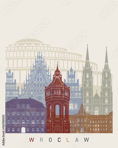 Plakat panoramę Wrocławia
