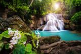 Fototapety Waterfall in Thailand, called Huay or Huai mae khamin in Kanchanaburi Provience