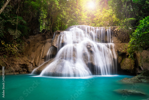 Waterfall in Thailand, called Huay or Huai mae khamin in Kanchanaburi Provience - 163905998