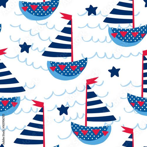 Cotton fabric seamless sailing ships pattern vector illustration