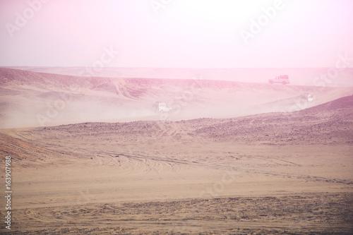 Safari on jeeps in desert