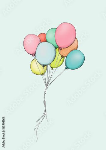 Davonfliegende, bunte Luftballons