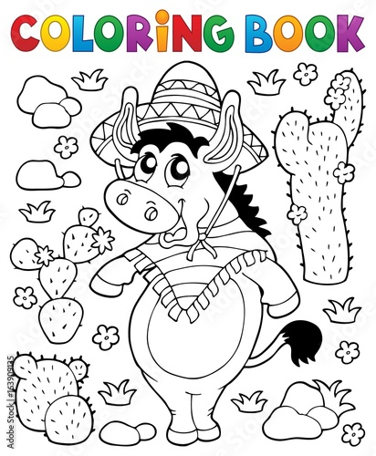 Coloring book Mexican donkey 1