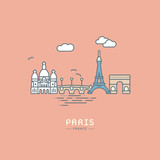 Line icon style Paris city landmarks flat vector illustration