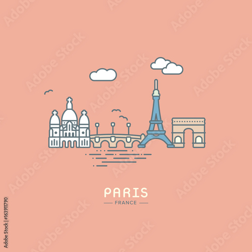 Fridge magnet Line icon style Paris city landmarks flat vector illustration