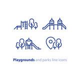 Play zone for children, playground equipment, local park - 163912966