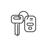 Car key line icon, outline vector sign, linear style pictogram isolated on white. Symbol, logo illustration. Editable stroke. Pixel perfect graphics