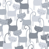 seamless grey cat pattern vector illustration