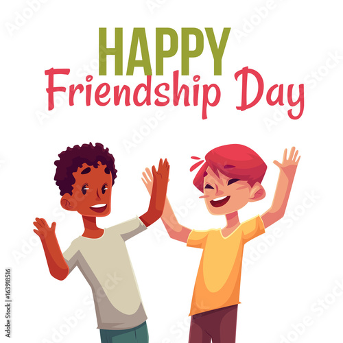 Happy friendship day greeting card design with happy children boys , jumping in excitement, cartoon vector illustrations isolated on white background. Happy, cheerful cartoon style kids