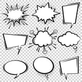 Fototapety Comic speech bubble set. Empty cartoon black and white cloud pop art expression speech boxes. Comics book vector background template with halftone dots.