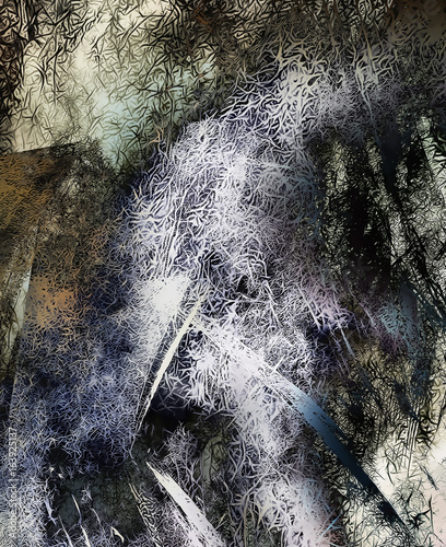 background pattern with fractal needle structures. Grey color.