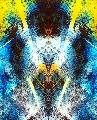 visionary abstract background with neon vibrant colors and mirror and fractal effect.