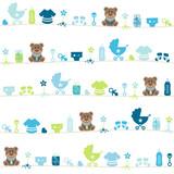 Seamless Pattern Teddy Baby Symbols Boy Blue
