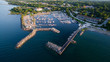 Aerial view of the waterfront in Thornbury, Ontario, Canada.