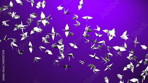 Origami Crane On Purple Background. Loop able 3DCG render Animation.