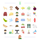 Animal Profession Food And Other Web Icon In Cartoon Style Appearance Cosmetics Clothing Icons In Set  Wall Sticker