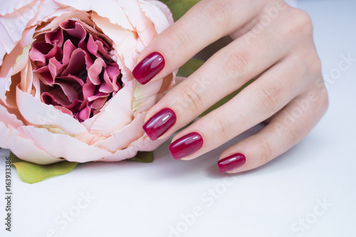 Staande foto Manicure Beautiful natural nails. Clean manicure and nail art. Women's hands