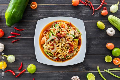 Papaya salad with shrimp, famous Thai food, Thai Salad, Famous Thai food,