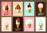 Set of brochures with ice cream. Vector templates. Backgrounds with ice cream. - 163937132