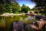 Garden Backyard Pond with Adirondack Chair Set