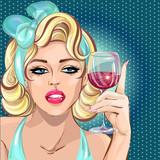 Pin up sexy blondynka kobieta pije wino, portret dziewczyny pop art