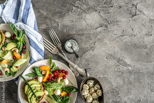 Vegetarian dinner - salad and wine - 163947734