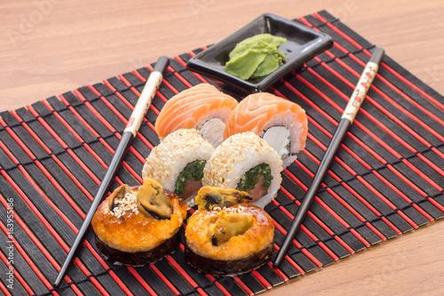 Sushi rolls with sticks