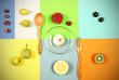 фрукты лежат на ярком разноцветном фоне  - 163970586