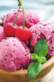Delicious cherry ice cream. - 163970792