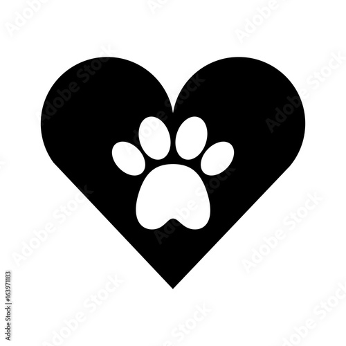 heart with paw footprint mascot isolated icon vector illustration design