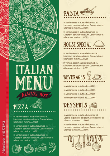 Pizza menu restaurant, food template. - 163973942