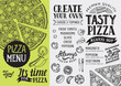 Pizza menu restaurant, food template. - 163974130