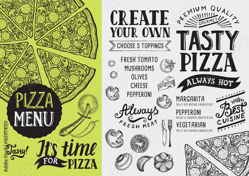 Pizza menu restaurant, food template. - 163974130