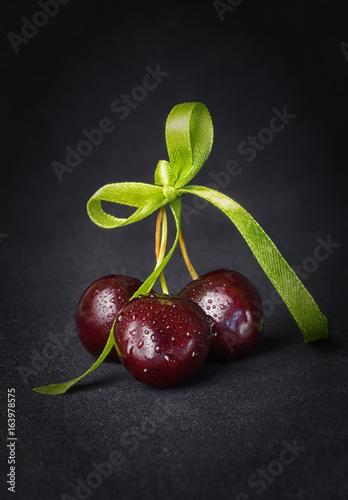 cherry, Cherries on a black background
