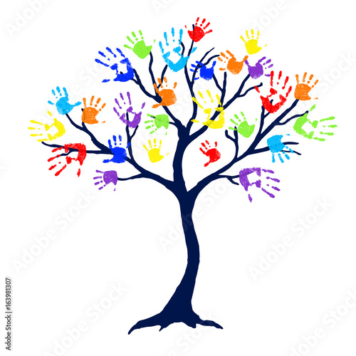 Fototapeta Abstract tree with bright and colorful family hand prints as leaves on white background. Vector illustration.