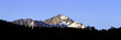 Panorama of early morning light on Long's Peak, the highest point in Rocky Mountain National Park in Colorado
