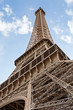 View of the detail of the Eiffel Tower in Paris. France. The Eiffel Tower was constructed from 1887-1889 as the entrance to the 1889 World's Fair by engineer Gustave Eiffel.