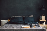Black bedroom in loft style - 164005512