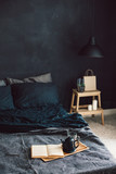 Black bedroom in loft style - 164005513