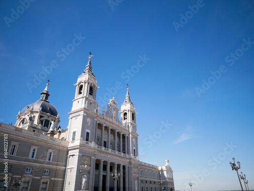 Side view of Cathedral de la Almudena (Santa Maria la Real de la Almudena) in Madrid, Spain.