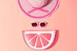 Fashion Sunny Summer Woman Set. Trendy Accessories. Glamor Grapefruit Citrus Clutch, fashion Sunglasses on Yellow. Hot Beach summer Vibes. Creative Bright Style. Vanilla Pastel Color. Minimal, Art