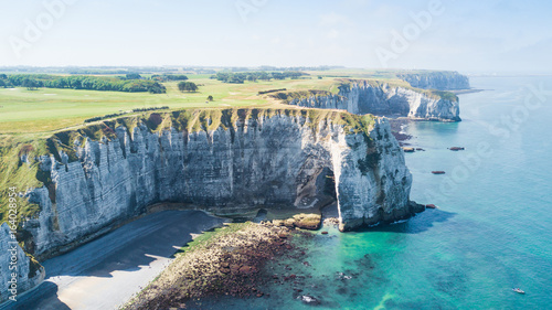 View from above to the bay and alabaster cliff  bay of Etretat, France